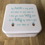 Personalised AUNTIE AUNTY AUNT Cake Biscuit Tin gift ANY NAME BAKING - 232937430872